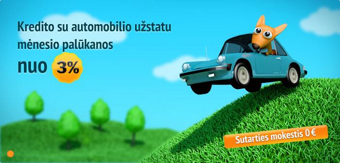 Kredito su automobilio užstatu mėnesio palūkanos nuo 3%