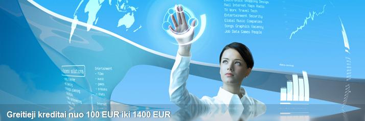 Greitieji kreditai nuo 100 EUR iki 1400 EUR